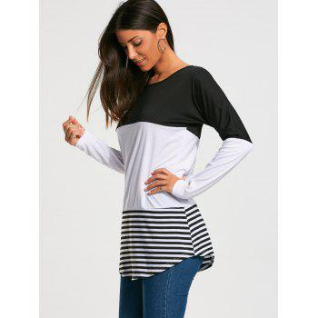 Long Sleeve Color Block Striped T-shirt - M M