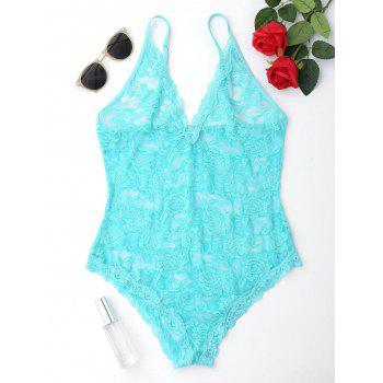 Spaghetti Strap Lace Sheer Teddy - TURQUOISE S
