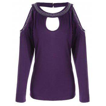 Stud Panel Long Sleeve Cold Shoulder T-shirt - PURPLE PURPLE