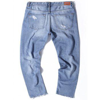 Straight Leg Light Wash Distressed Jeans - 32 32