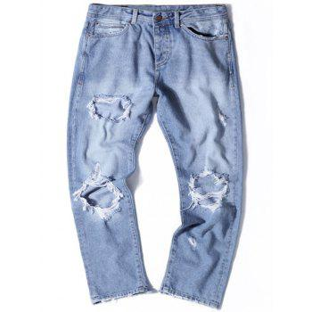 Straight Leg Light Wash Distressed Jeans - DENIM BLUE 34