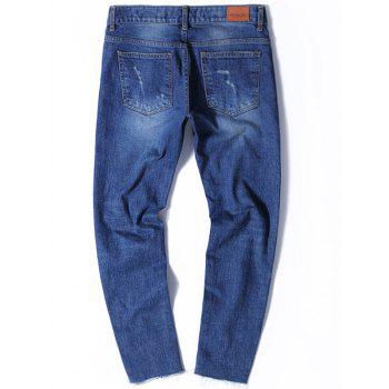 Tapered Fit Zip Fly Jeans with Knee Rips - 38 38