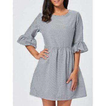 Flounce Sleeve Seersucker Striped Dress - BLACK M