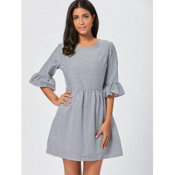 Flounce Sleeve Seersucker Striped Dress - M M
