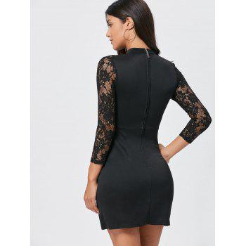 Lace Panel Cut Out Bodycon Dress - Noir S