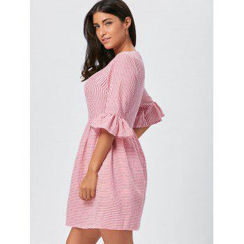 Flounce Sleeve Seersucker Striped Dress - L L