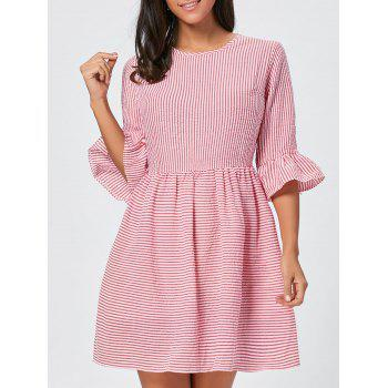 Flounce Sleeve Seersucker Striped Dress - RED L