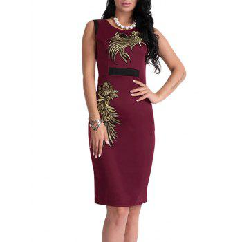 Floral Patch Bodycon Robe Longueur au genou - Rouge vineux L