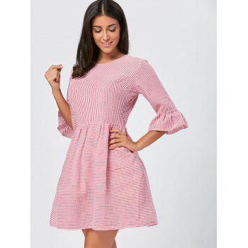 Flounce Sleeve Seersucker Striped Dress - XL XL