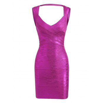 Bronzing Sweetheart Neck Cut Out Bandage Dress