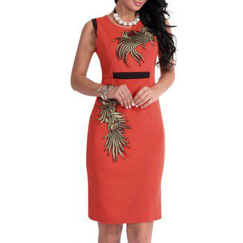 Floral Patch Bodycon Knee Length Dress - ORANGE L