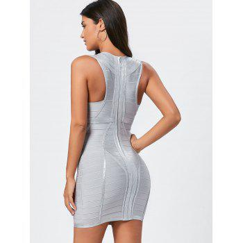 Plunging Neck Metallic Bandage Dress - S S