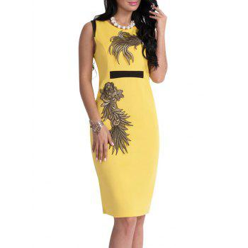 Floral Patch Bodycon Knee Length Dress - YELLOW XL