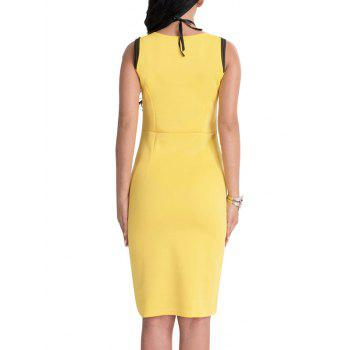 Floral Patch Bodycon Knee Length Dress - YELLOW L