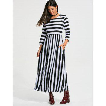 Stripe High Waist Maxi Dress with Pocket - Noir XL
