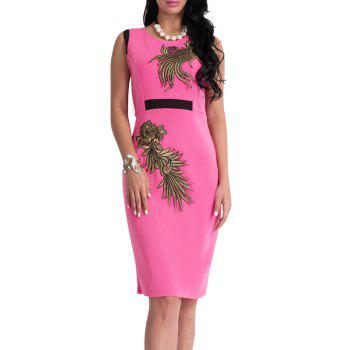 Floral Patch Bodycon Knee Length Dress