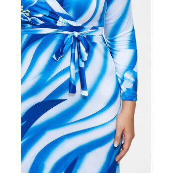 Plunging Neck Long Sleeve Plus Size Print Dress - BLUE 2XL