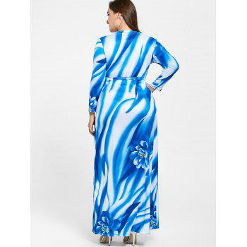Plunging Neck Long Sleeve Plus Size Print Dress - Bleu 3XL