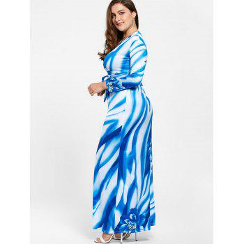 Plunging Neck Long Sleeve Plus Size Print Dress - 5XL 5XL