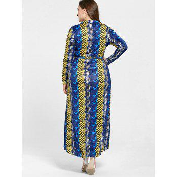 Floor Length Long Sleeve Printed Plus Size Dress - BLUE 3XL