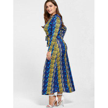 Floor Length Long Sleeve Printed Plus Size Dress - BLUE 5XL