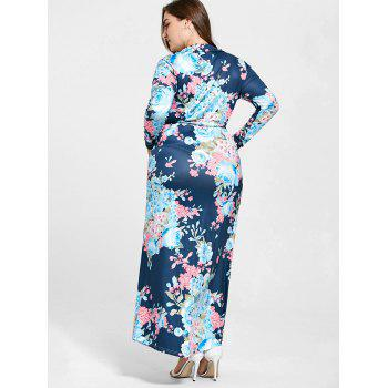 Floral Long Sleeve Plus Size Long Dress - 2XL 2XL