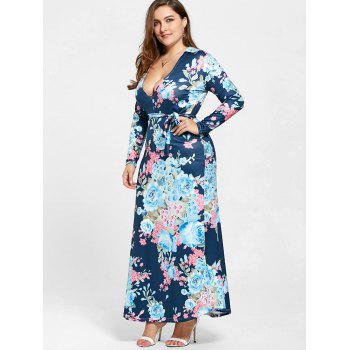 Floral Long Sleeve Plus Size Long Dress - PURPLISH BLUE 3XL