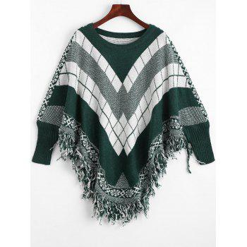 Plus Size Fringed Geometric Poncho Sweater