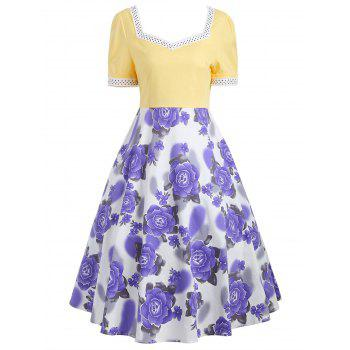 Sweetheart Neck Flower Print 50s Swing Dress - YELLOW S