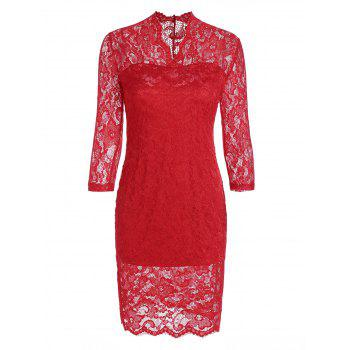 Sheath Lace Dress with V Neck - RED S