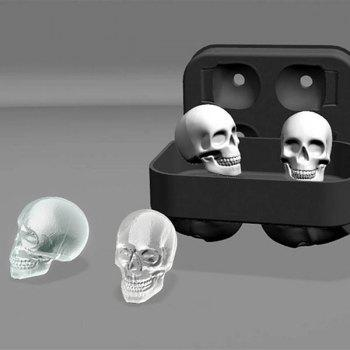 Novelty Halloween 3D Skull Flexible Silicone Ice Cube Tray - BLACK BLACK