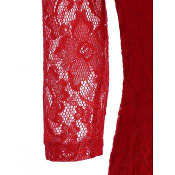 Sheath Lace Dress with V Neck - RED L