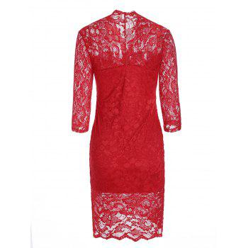 Sheath Lace Dress with V Neck - XL XL