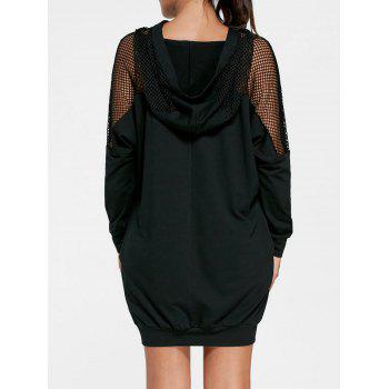 Batwing Sleeve Hooded Mini Dress - BLACK M