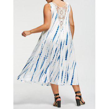 Plus Size Tie-Dyed Sleeveless Maxi Dress - WHITE 2XL