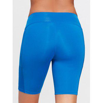 Elastic Waist Running Shorts with Pocket - SKY BLUE SKY BLUE