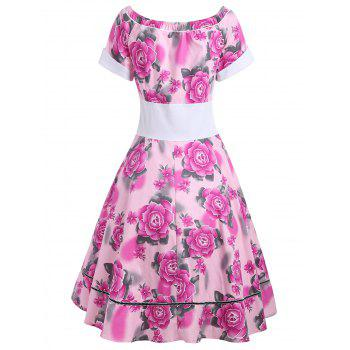 Flower Print Empire Waist 50s Swing Dress - XL XL
