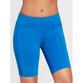 Elastic Waist Running Shorts with Pocket - SKY BLUE M