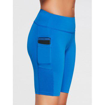 Elastic Waist Running Shorts with Pocket - SKY BLUE XL