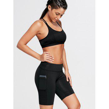 Elastic Waist Running Shorts with Pocket - BLACK L