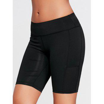 Elastic Waist Running Shorts with Pocket - BLACK M