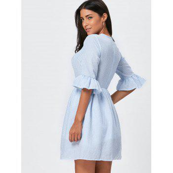 Flounce Sleeve Seersucker Striped Dress - LIGHT BLUE LIGHT BLUE