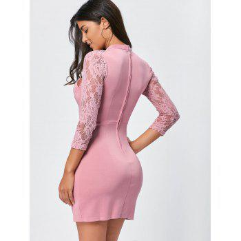 Lace Panel Cut Out Bodycon Dress - PINK M