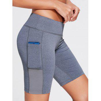 Elastic Waist Running Shorts with Pocket - DEEP GRAY S