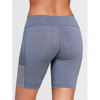 Elastic Waist Running Shorts with Pocket - DEEP GRAY XS