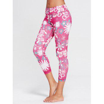 Sunflower Printed Cropped Running Tights - TUTTI FRUTTI S