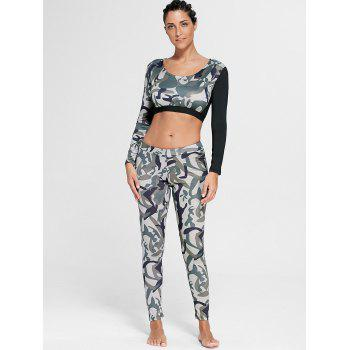 Sports Camouflage Printed Long Sleeve Crop Tee - ARMY GREEN S