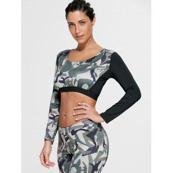 Sports Camouflage Printed Long Sleeve Crop Tee - ARMY GREEN M