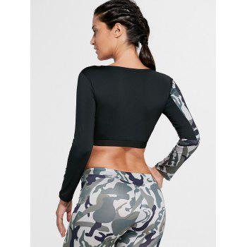Sports Camouflage Printed Long Sleeve Crop Tee - ARMY GREEN L
