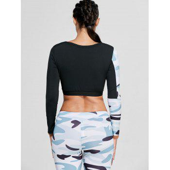 Sports Camouflage Printed Long Sleeve Crop Tee - WHITE M